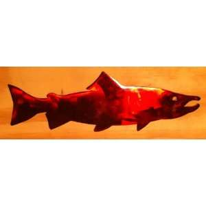 Red Salmon 10 Inch Fish Ornament or Wall Decor Metal Art