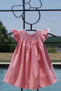 Girls Summer Polka Dot Smocked Dress 6 6X 17104
