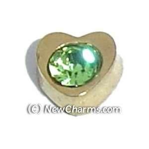 Heart Birthstone August Floating Locket Charm Jewelry