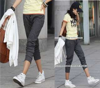 New Womens Casual Black Long Harem Cotton Pants Girls Trousers 8494