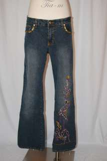 APOLLO DESIGNERS SEQUINED EMBROIDERED POCKETS BOOT CUT JEANS WOMEN SZ