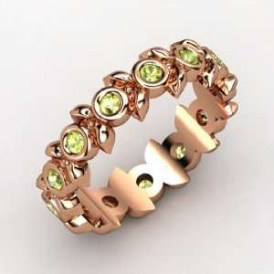 Apple Wreath Ring, 14K Rose Gold Ring with Peridot