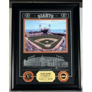 SAN FRANCISCO GIANTS AT&T Park Archival Etched Glass PHOTOMINT & 24KT