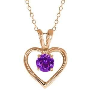 0.75 Ct Round Purple Amethyst 14k Rose Gold Pendant Jewelry