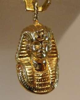 14K YELLOW GOLD 3D EGYPTIAN PHARAOH KING TUT CHARM PENDANT 3.1gr