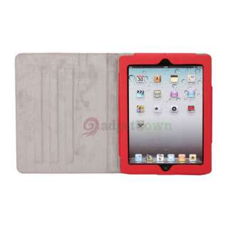 Cute Little Witch Leather Smart Case Cover Stand for iPad 2 Red