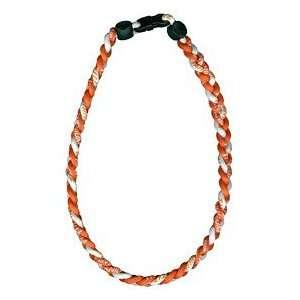 Titanium Ionic Braided Necklace   Orange/White