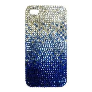 Blue/Navy Gradient Pattern Design Bling Apple IPhone 4 Case Cover