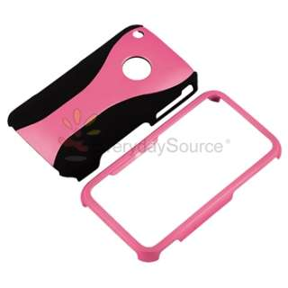 BABY PINK/BLACK 3 PIECE RUBBER HARD HYBRID CASE COVER for APPLE iPHONE