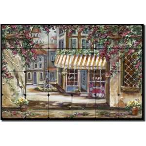 Town Square by Ginger Cook   Village Scene Tumbled Marble Mural 16 x