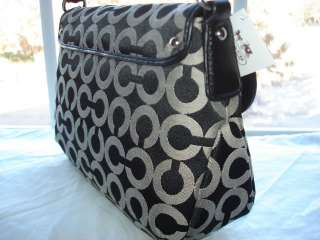 New $158 COACH 45130 Black White KRISTEN OP ART SIGNATURE Top Handle