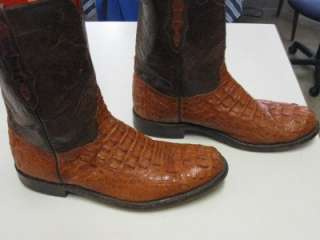MENS 11 D BLACK JACK WESTERN COWBOY BOOTS ALLIGATOR SKIN BROWN LEATHER