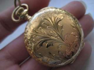 Antique Ladies 14k Solid Yellow Gold Elgin Pocket Watch