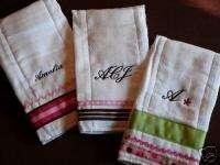 Custom personalized monogram initial burp cloths s/3