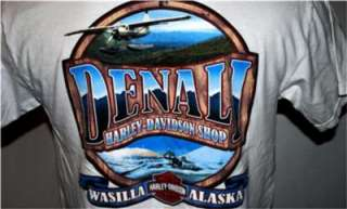 HARLEY DAVIDSON MOTORCYCLE T SHIRT WASILLA, ALASKA WHITE DENALI HARLEY