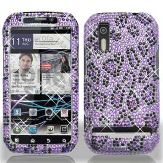 Leopard Crystal Diamond BLING Hard Case Phone Cover Motorola Electrify