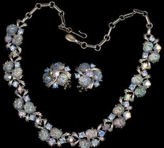 Signed Aurora Borealis Rhinestone Necklace and Earrings Set