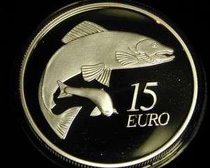 IRELAND 15 EURO SILVER PROOF COIN. 2011. SALMON