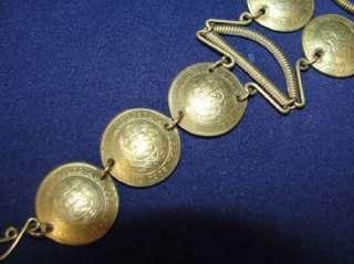 Vintage 70s Artisan Brass Peruvian Real Coin Bracelet Sol De Oro