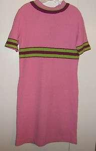 Vintage Mod Pink Lime Green Italian Knit Sweater Dress L