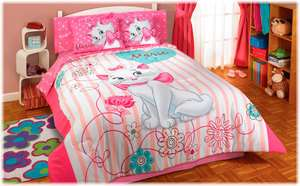 New Girls Teens Pink White Kittie Kitten Cat Marie Comforter Bedding