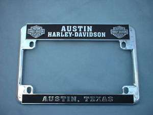 HARLEY DAVIDSON CHROME LICENSE PLATE HOLDER AUSTIN NEW