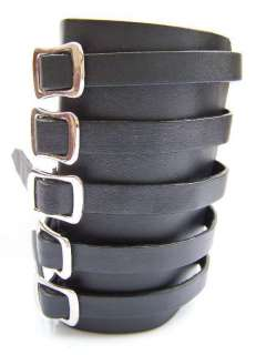 LEATHER GAUNTLET WRISTBAND 5 BUCKLES GOTHIC METAL PUNK EMO ROCK BLACK