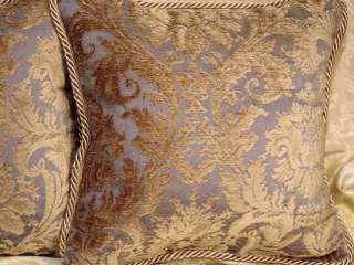 Decorative Throw Pillows blue taupe Elegant Old World Damask Chenille