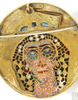 HEAVY LARGE 18K GOLD ITALY PLIQUE ENAMEL RUBY/SAPPHIRE/PEARL BROOCH