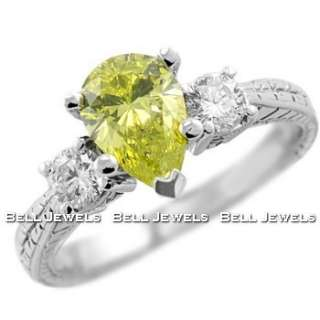 37CT CANARY YELLOW DIAMOND 3 STONE ENGAGEMENT RING 14K WHITE GOLD
