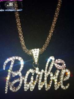 Nicki Minaj 3 BARBIE Iced Out Necklace Gold/Clear