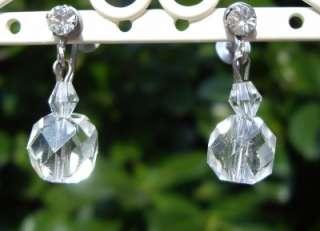 Vintage Cut Rock Crystal & Rhinestone Screw Back Earrings