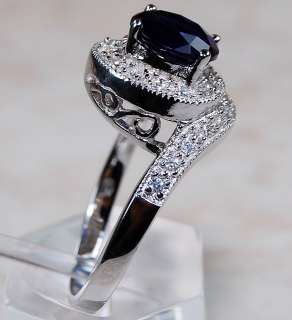 Sapphire,White Topaz & 925 Solid Sterling Silver Ring Size 6,Item is