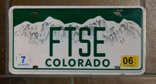 2006 Colorado Mountain Scene Vanity License Plate Tag FTSE