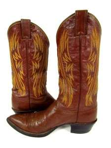womens dark brown JUSTIN COWBOY WESTERN BOOTS embroidered leather 9 B