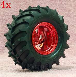 4x RC 1/10 Monster Bigfoot Car Truck Wheel,Tyre TIRE Red 7Y8