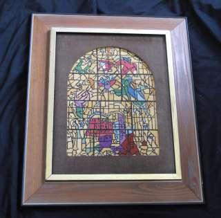 JUDAICA ART NEEDLPOINT STAIN GLASS WINDOW FRAMED