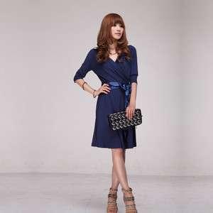 New Womens V neck Dress+Belt Cocktail/Party/Versatile Dark Blue S M