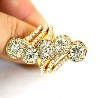 Faceted Cone Gold plating Diamante Zircon CZ Adjustable Ring