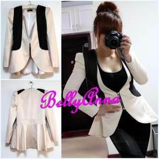 Elegant OL Quality Slim Fit Peplum Zip Tuxedo Blazer Jacket Suit Coat