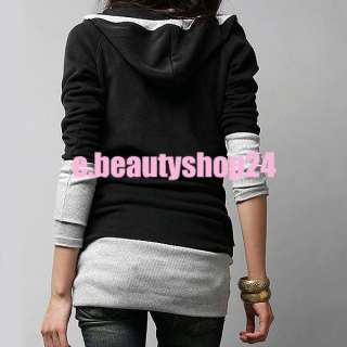 Black & Gray Women Girls Korean Long Sleeves T shirt Clothes