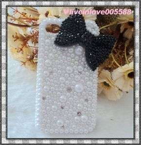 Cute 3D Bow Bling Crystal Pearl Case Cover For APPLE