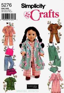 Pattern 5276 18 DOLL CLOTHES AMERICAN GIRL nightgown robe pants tops