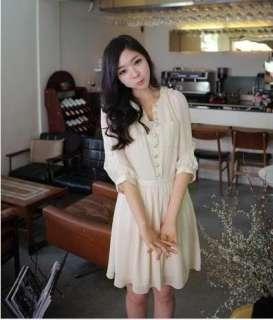 New Korea Charming Special Bag Button Chiffon Dress Hot