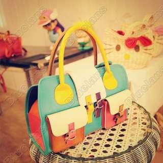 Fashion Women HIT Color PU Leather Hobo Satchel Clutch Handbag Bag
