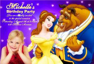 Personalized Disney Belle Photo Birthday Invitation