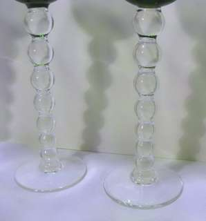 Crystal 4x Bubbles Green Hock Wine Glasses     France   Long Stem