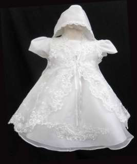 Girl White Baptism Christening Formal Gown Dress Size 0 1 2 3 4