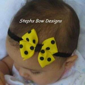 BLACK YELLOW DOTS DAINTY HAIR BOW HEADBAND BUMBLEBEE
