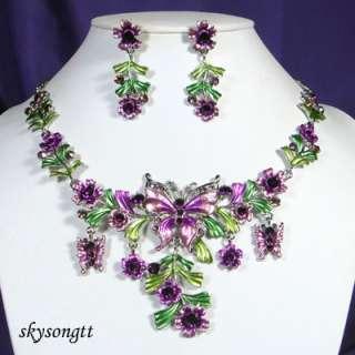 Purple Enamel Crystal Butterfly Necklace Set S1618V
